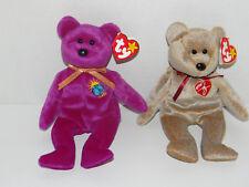 2 TY Original BEANIE BABIES 1999 Signature and Millennium  BEARS Beanie Baby