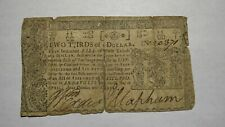 1774 $2/3 Annapolis Maryland MD Colonial Currency Note Bill! Two Thirds Dollar!