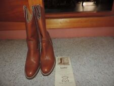 "Frye Women's size 9 B Brown Leather Cowboy Boots 3"" Heels Made in USA 7895"