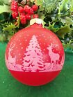 VINTAGE RED UNSILVERED SHINY BRITE STENCILED REINDEER&SNOW SCENE XMAS ORNAMENT