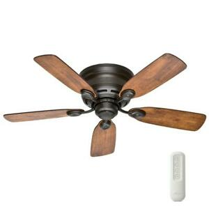 42 In. Indoor New Bronze Ceiling Fan With Remote Low Profile IV Ultra-quiet