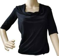 Armani Collezioni women's black top - Cowl neck, 3/4 sleeve - Made in Italy