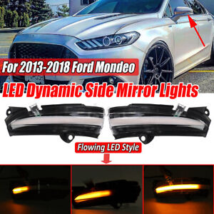For Ford Mondeo 2013-2018 Dynamic LED Side Mirror Turn Signal Light Clear Lens