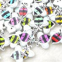 Lot de 10 bouton abeille 20x17 mm bois couture scrapbooking mercerie fantaisie