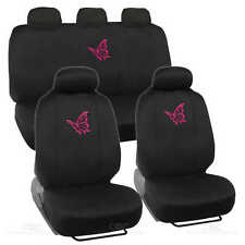 Car Seat Covers Pink Butterfly Design Universal Fit Full Set W/ Auto Accessory