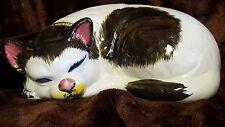 LARGE LIFE SIZE Vintage Sleeping Porcelain or Ceramic Black White Cat Enesco!