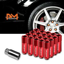 M12X1.5 Red JDM Open-End Acorn Hex Wheel Lug Nuts+Extension 25mmx60mm Tall 20Pc
