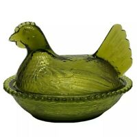 Vintage Indiana Glass Olive Green Rooster Chicken Hen Nest Bowl Covered Dish