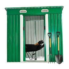 Garden Metal Shed with Base Heavy Duty 6X4 ft Patio Steel Storage Building Green