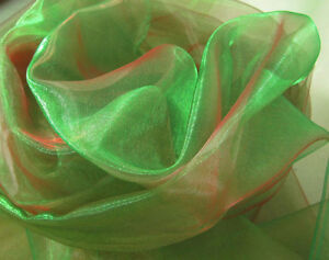 A132 (Per Yard) Green Red Iridescent 2 Tone Crystal Mirror Organza Sheer Fabric