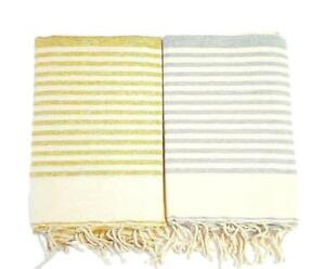 "Turkish Towel Fouta Beach Bath Spa Towel Sarong 100% Cotton Lurex Large 78""x38"""