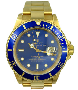 Rolex Submariner 16618 Blue Dial 18K Yellow Gold 40mm w/ Full Set