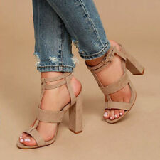 USA Women Summer Buckle Block High Heels Sandals Open Toe Ankle Strap Shoes Size