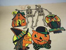 Lot of 6 Vintage Halloween Die Cut Beistle Decorations Skeletons, Owl, Witch etc