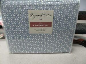 Raymond Waites KING Sheet Set 100% Cotton 300 Thread Count NEW! BLAKE BLUE