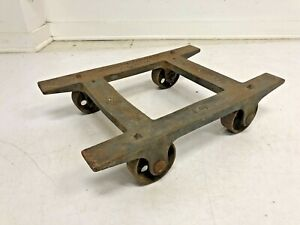 Vintage INDUSTRIAL CART table base stand metal steampunk old factory steel heavy