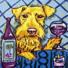 airedale terrier wine coaster animal dog art tile gift artwork