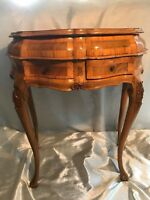 Antique 19th Century Venetian Italian Carved Marquetry Bombe Serpentine Table