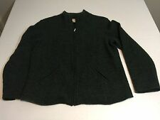 Talbot's Forest Green 100% Boiled Wool Zip-Up Cardigan Jacket Pockets  Petite M