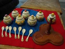 Seven (7) Franklin Mint Le Cordon Bleu Jelly Jars w/spoons and Wood Stand