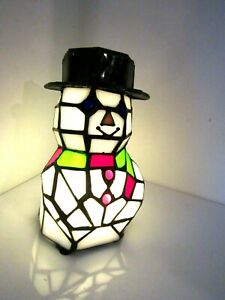 Stained Glass Snowman Light Accent Lamp Christmas Decoration Nightlight