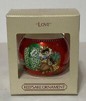 Hallmark Love 1984 Christmas Tree Ball Keepsake Glass Ornament Bears Mimes Vtg
