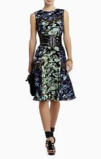 NEW BCBG MAXAZRIA CARBON CO JOLIE PRINTED LACE INSERT DRESS UQX6X587 SZ XXS $298