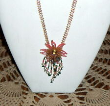 New listing Hand-made Fuschia Starburst netted necklace, flower