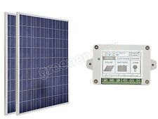 200W solar panel kit:2pcs 100W poly solar panel with 15A solar charge controller