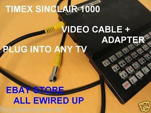TIMEX Sinclair 1000 Television TV RF Video Cable + Adapter Connector Switch Box