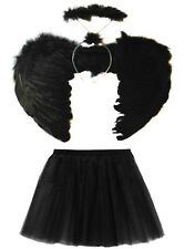 HALLOWEEN BLACK DARK FALLEN ANGEL WINGS, HALO AND TUTU SET COSTUME FANCY DRESS