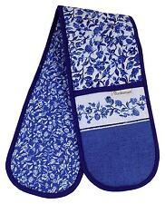 Azul Blanco Floral Baya 100% sarga de algodón guante doble horno 90cm x 17cm
