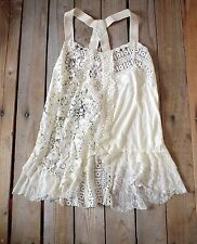 Medium MIXED LACE Tank Top Tunic Anthropologie Hazel Designer Sequin Studded