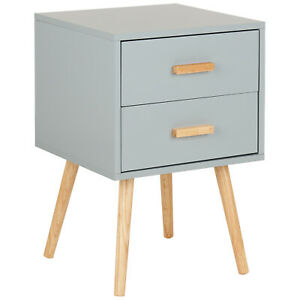 Hartleys 2 Drawer Grey Bedside Table Wood Legs Scandinavian Retro Bedroom Unit