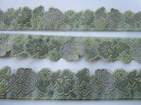 2 Meter Borte Spitze 3,7cm Meer Grün Gold Nichtelastisch breit elegante CL002 NC