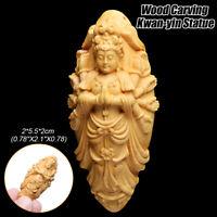 1PC Boxwood Wood Carving Kwan-yin Buddha Statue Bodhisattva Sculpture Pendant