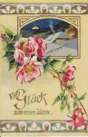 uralte AK, Viel Glück im neuen Jahre, mit Blumenmotiv und Winterlandschaft