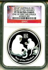 2016 $1 Australia Year Of The Monkey One Of First 500 Stuck NGC PF70 Ultra Cameo