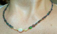 Black white oval nugget Ethiopian Fire Opal 14k solid gold necklace
