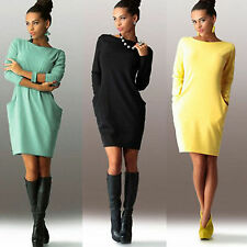 Women Slim A-line Bodycon Cocktail Party Mini Dress Long Sleeve Tunic Jumper Top
