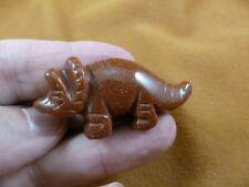 (Y-Din-Tr-568) Goldstone Triceratops Dinosaur carving Gemstone gem Figurine