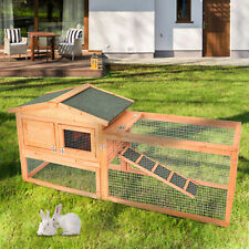Wooden Rabbit Hutch Cage Chicken Coop House Hen Pet Animal Backyard Run Ramp