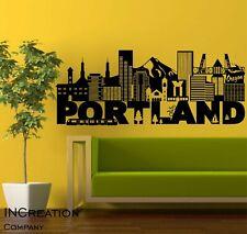 Huge Portland Skyline Vinyl Wall Decal Wall Sticker Man cave Bedroom Removable