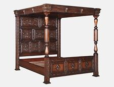 5' King Size Four Poster Wooden Bed Frame Tudor Design Heavily Carved Mahogany