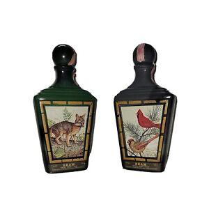 Jim Beam 1970's Decanter Bottle, J.Lockhart, Cardinal Birds & Gray Fox Set