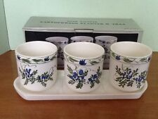 Epicure 3 Earthenware Pots or Planters with Tray Handpainted Blue White Green