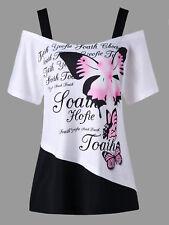 Women XL-5XL Plus Size Cold Shoulder T-shirt Butterfly Pattern Letter Print Tee