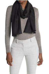 New Auth Gucci Women Monogram GG Jacquard Silk & Wool Scarf Wrap Black $550