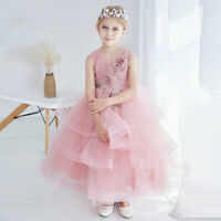 Beautiful Pink Flower V Neck Girls Dress for Party Tiered Wedding Dresses Gowns