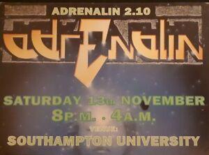 adrenalin 13.11.99 @ Southampton university rave flyer